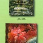 Il giardino di Monet - Fiori di Ibisco - Rilievi in legno
